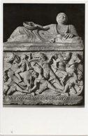 Firenze - Cartolina URNA CINERARIA: COMBATTIMENTO FRA GRECI E TROIANI, F.lli Alinari (17039) Museo Ar. Arte Etrusca, P72 - Sculture