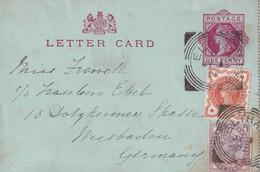 GRANDE-BRETAGNE 1892 ENTIER POSTAL CARTE-LETTRE DE ELTHAM - Luftpost & Aerogramme