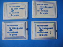 France Vignettes - Lot  4 Carnet Code Postal  Nice Vert - Grenoble Strasbourg Lilas -  Dunkerque Jaune   Neuf ** - Commemorative Labels