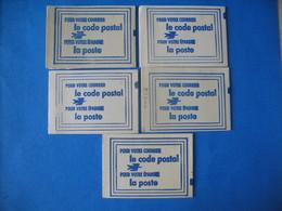 France Vignettes - Lot  5 Carnet Code Postal  Limoges Vert - Limoges Orléans  Nice Lilas -  Draguignan Jaune  Neuf ** - Commemorative Labels