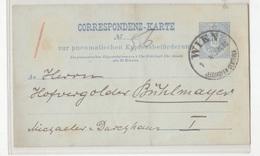 Austria, Pneumatic Post Postal Stationery Correspondenz-karte Travelled 1890 Wien Pmk B180830 - Interi Postali