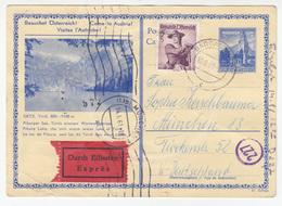 Austria, Oetz Illustrated Postal Stationery Postcard Expres Travelled 1961 Badgastein To München B180830 - Interi Postali