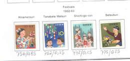 Giappone PO 1962/63 Festival   Scott.756+762+772+775+See Scan On Scott.Page; - 1926-89 Imperatore Hirohito (Periodo Showa)