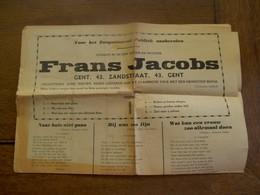 Uitgave Nr. 105  Zanger - Dichter  FRANS JACOBS  GENT - Faire-part