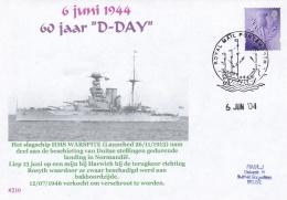 D-Day - British Battleship HMS Warspite Heavy Damaged P/m Royal Mail Portsmouth 2004  (DD22-12) - Militaria