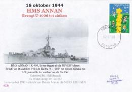 British Frigate HMS Annan K-404 Was Hunting German Submarine U-1006 Near The Faroe Isles P/m Torshavn 2004  (DD22-12) - Militaria