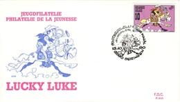 BELGIQUE 2390 FDC 1er Jour Enveloppe LUCKY LUKE Comics Bande Dessinée BD De MORRIS Cachet Beringen - Stripsverhalen