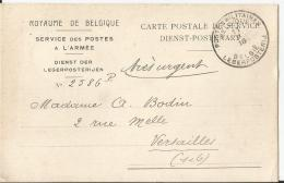 CP  POSTE MILITAIRE BELGE  12/2/1916 Pour Versailles  TTB - Postmark Collection (Covers)
