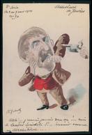 Art ROBERTY Jean Assassinat De Léon Jaurès Leader Socialiste France Politique Caricature Peinte A La Main Carte Postale - Satiriques