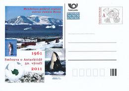 Rep. Ceca / Cart. Postali (Pre2011/28) Il Trattato Antartico,stazione Polare Di Mendel, Balena, Pinguino, Fossili, Mappa - Basi Scientifiche