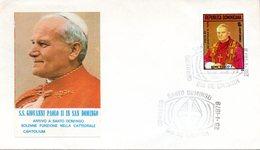 "(Bu-B1) Dominikanische Repubblik FDC EF Mi 1214 ""Besuch V. Papst Joh. Paul II"" ESSt. 25.1.1979 SANTO DOMINGO - Dominikanische Rep."