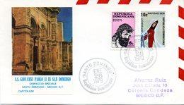 "(Bu-B1) Dominik. Republik Sonderumschlag MiF Mi 1160,1212 ""Besuch V. Papst Joh. Paul II"" SSt. 26.1.1979 SANTO DOMINGO - Dominikanische Rep."