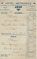 Sete-hotel Metropole Tisseyre-1942-menu Repas Avec Tickets D'alimentation - Menus