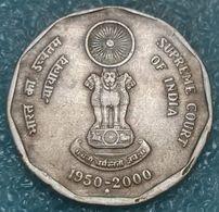 "India 2 Rupees, 2000 50th Anniversary Of Supreme Court Mintmark ""♦"" - Mumbai - Inde"