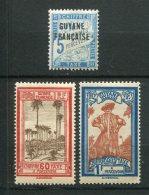 8307  GUYANE Française   Taxe  1,18/9 *  5c. Bleu, 60c. Brique Et Sépia,  1 Fr Bleu Et Brun-jaune     1925 , 1929   TB - Unused Stamps