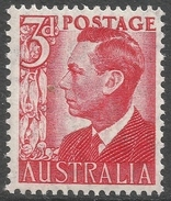 Australia. 1950 KGVI. 3d Red MNH. SG 235 - Mint Stamps