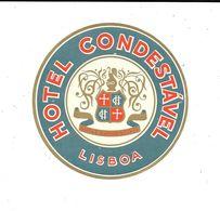 Ancienne Etiquette D'Hôtel / De Bagages -Vintage Luggage Label - PORTUGAL - HOTEL CONDESTAVEL à LISBOA - Hotel Labels