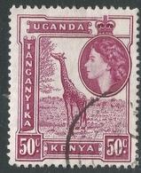 Kenya, Uganda & Tanganyika. 1954-59 QEII. 50c Used. SG 173 - Kenya, Uganda & Tanganyika