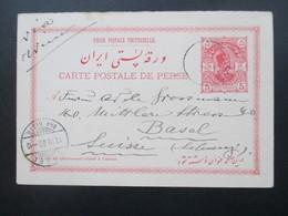 Ganzsache Iran - Persien 1900 Antwortkarte?! Gestempelt Und Gelaufen Nach Basel Schweiz - Iran
