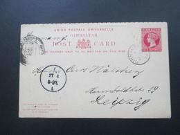 Gibraltar 1892 Doppelkarte Frage / Antwortkarte P19 Nach Leipzig Gelaufen! Estafeta Cambio Madrid - Gibraltar