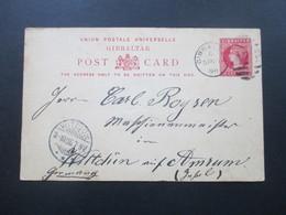 Gibraltar Ausgabe 1889/90 P16 Verwendet 1898 Gesendet Nach Wittdün Auf Amrum! Seltene Destination!! - Gibraltar
