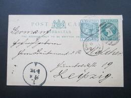 Gibraltar Ausgabe 1889/90 P15 Verwendet 1892 Gesendet Nach Leipzig über Madrid! Mit Zusatzfrankatur! Tolle Karte!! - Gibraltar