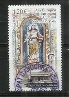 La Vierge Du Remei,sculpture Romane,église De Santa Coloma.Année Européenne Du Patrimoine. Timbre Oblitéré 1 ère Qualité - French Andorra