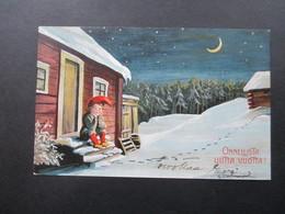 Finnland 1907 Künstlerkarte Onnellista Uutta Vuotta. Stempel Helsinki Michel Nr. 37 Russisches Staatswappen - Storia Postale