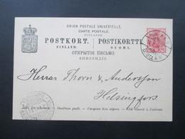 Finnland 1888/89 Ganzsache P 23 II Verwendet 1898 Stempel Postilj K.K.K. Und Helsingfors Helsinki - Storia Postale