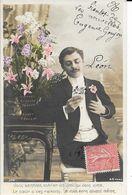 CARTES  FANTAISIE ANNEE 1907 -  HOMME  -   A LEGENDE    :    -  CIRCULEE - Hommes