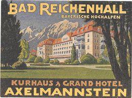 Anc. Etiquette D'Hôtel /de Bagages -Vintage Luggage Label-ALLEMAGNE -BAD REICHENHALL-KURHAUX & GD HOTEL -AXELMANNSTEIN - Etiquettes D'hotels