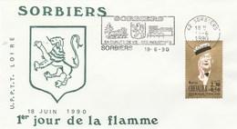 FRANCE FDC SORBIERS LOIRE 1ER JOUR DE LA FLAMME 18 JUIN 1990 YT 2650                    --                 TDA109 - 1990-1999