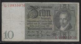 Allemagne - 10 Reichsmark - Pick N° 180 - TB - 10 Mark