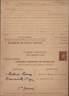 Entier CP Petain Chamois 1.20 Avec Réponse Payée Demande D'extrait De Naissance Non Voyagée Novembre 1943 - Standard Postcards & Stamped On Demand (before 1995)