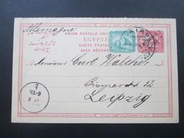 Ägypten 1894 Doppelkarte Frage / Antwortkarte Mit Aufdruck Und Zusatzfrankatur Nach Leipzig! - Ägypten