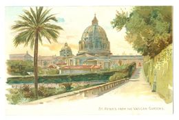 Vintage, Vatican City, St Peter's From The Vatican Gardens. Printed Pc, Unused. - Vaticano