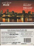 BELL ALLO HELLO $ 20 MONTREAL CANADA PREPAID MAGNETIC TELECARTE 97/10 - Canada