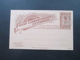 Belgisch - Kongo Ganzsache Doppelkarte Mit Blauem Stempel! Matadi 1898 Aber Ungelaufen / Blankokarten - 1894-1923 Mols: Briefe U. Dokumente