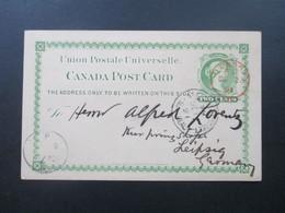 Kanada 1891 Ganzsache Montreal - Leipzig Mit Rotem Stempel London AC De 23 91 - Briefe U. Dokumente