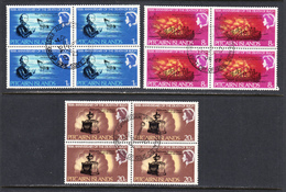 Pitcairn Islands 1967 Cancelled, First Day Of Issue, Blocks, Sc# 85-87, SG 82-84 - Stamps