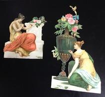 Ravissant Ensemble Chromos Découpis Nid  Femme Romain Sculpture Peinture 7,5 Cm 12 Cm - Gesneden Chromo's
