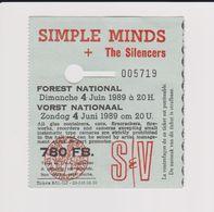 Concert SIMPLE MINDS + THE SILENCERS 4 Juin 1989 à Forest B - Tickets De Concerts