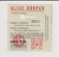 Concert ALICE COOPER 6 Novembre 1988  à Forest B - Tickets De Concerts
