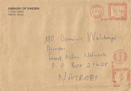 "Kenya 1999 Nairobi Meter Franking Pitney Bowes-GB ""5000"" PB830 Sweden Embassy Domestic Cover - Kenia (1963-...)"