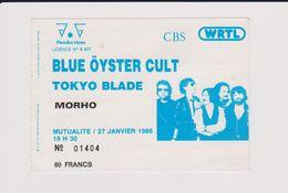 Concert BLUES ÖYSTER CULT + Tokyo Blade + Morho 27 Janvier 1986 Mutualité - Concert Tickets