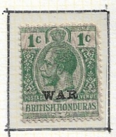 "BRITISH HONDURAS   1916 War Surcharge,  Overprinted ""WAR""  Hinged   With Violet Front Imprint Protection - British Honduras (...-1970)"