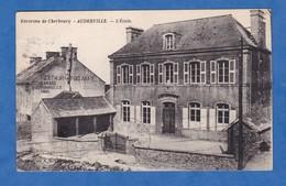CPA - AUDERVILLE ( Manche ) - L' Ecole - Restaurant Delahaye - Environs De Cherbourg - France