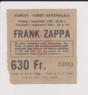 Concert FRANK ZAPPA 7 Septembre 1984 à Forest B - Tickets De Concerts
