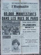 Journal L'Humanité (9 Fév 1962) Répression Policière Charonne - Mineurs De Voelklingen - - Journaux - Quotidiens