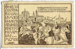 CARTOLINA ILLUSTRATORE BONCOMPAGNI CENTENARIO MORTE DI DANTE ALIGHERI AREZZO NOVEMBRE ANNO 1921 VIAGGIATA - Illustratori & Fotografie
